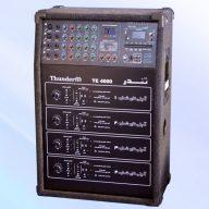 میکسر ۴ کاناله با ۳ باند اکولایزر ۶ ورودی میکروفن ( ۴ ورودی جک مونو و ۲ ورودی جک XLR (کننی) ۲ ورودی آزاد AUX جک مونو ورودی و خروجی های ضبط بصورت جداگانه جک RCA خروجی AUX برای اتصال به آمپلی فایر دیگر یا مانیتور صوتی با ولوم کنترل اکوی دیجیتال ۶۰ برنامه MP3(با قابلیت ضبط و پخش انواع فایل های صوتی) رادیو FM، ریموت کنترل ۴ کانال آمپلی فایر جداگانه هر یک به قدرت ۱۰۰۰ وات مدار انحصاری آزمایشگر فیش، کابل و بلندگو هشدار دهنده عملکرد محافظ با نمایشگر نوری مجهز به محافظ اتصال کوتاه، اضافه بار و ولتاژ DC خروجی فروشگاه خانه الکترونیک